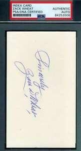Zack-Wheat-PSA-DNA-Coa-Autograph-Hand-Signed-3x5-Index-Card