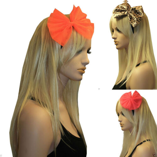 LADIES GIANT NET BOW SATIN ALICE HAIR BAND HEADBAND 80/'s HEN PARTY FANCY DRESS