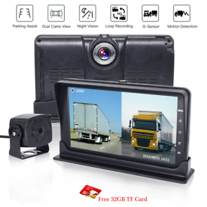 7-034-Dual-Split-1080P-Monitor-Dual-Camera-DVR-Front-RearView-For-Truck-Caravan-Bus