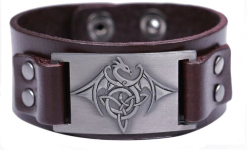 Ancient Norse Viking Irish Knot Trinity Flying Dragon With Wing Bracelet for Men