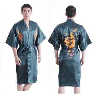 164fdbaafa Chinese men s silk dragon bathrobe gown robe nightrobe green Sz  M L ...