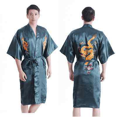 Chinese men's silk dragon bathrobe gown/robe nightrobe green Sz: M L XL XXL