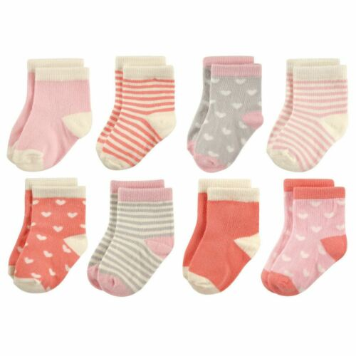 Hudson Baby Girl Baby Crew Socks 8-Pack Hearts and Stripes