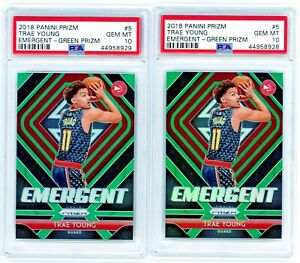 2-TRAE-YOUNG-2018-19-Panini-Prizm-Green-Emergent-Rookie-Card-RC-PSA-10-Gem-Mint