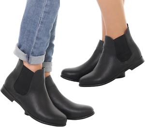 Womens Girls Boys Chelsea Jodhpur Boots Flat Horse Riding Elastic Black Ankle