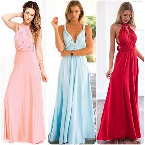 8912af0551f Long Women s Dress Convertible Multi Wear Bridesmaid Formal Wedding ...