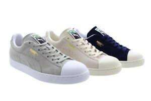 huge discount 782fa 13ebf Details about Unisex Puma Suede Classic Trainers Navy Grey Whisper White