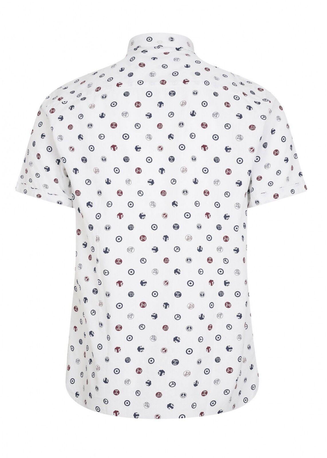Da Uomo Retrò Merc London Retrò Uomo con tutto BADGE stampa S/S Fashion Camicia PATROL-Bianco af484f