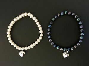925 Sterling Silver Puffed Love Heart Bracelet Freshwater Pearls White / Grey