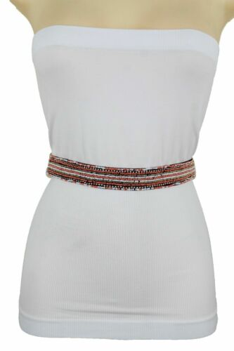 Women Black Elastic Waistband Bohemian Artsy Colorful Bling Beads Belt Size S M