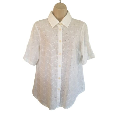 FLAX Beautiful White Embroidered Eyelet Blouse Cot