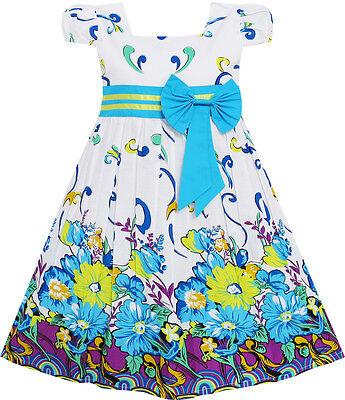 Sunny Fashion Girls Dress Blue Flower Short Sleeve Party Birthday Kids Size 2-10