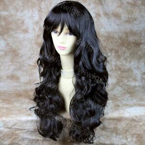 Sexy-Beautiful-Layered-Curly-Black-Brown-Long-Ladies-Wig-skin-top-Hair-WIWIGS-UK