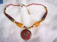 Beautiful Red Chroma, Orange Glass Statement Necklace (18-20) Msrp $99.99