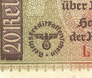 WW2-ORIGINAL-NAZI-Germany-Third-Reichs-Banknote-20-Reichsmark-1940-1945-L