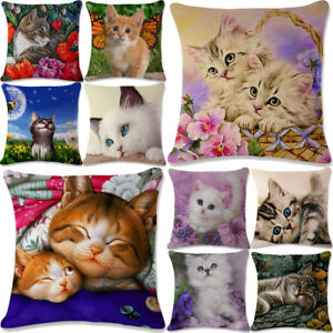 18''Lovely Cat Linen Pillowcase Pillow Cover Case Cushion Office Sofa Home Decor