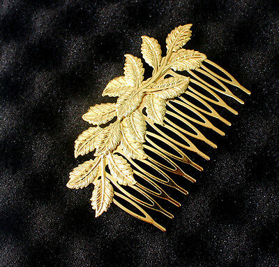 Newly Bridal Clover Flower Leaf Long Hair Piece Comb Clip Gold plated Head Piece