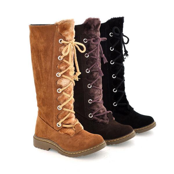 19 Womens Fur Lace Up Knee High Boot Flat Platform Winter Warm Snow Shoes UK 8.5