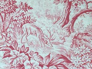 Antique-French-Fabric-Toile-Floral-Red-and-White-Stag-Forest-Scene-Trees