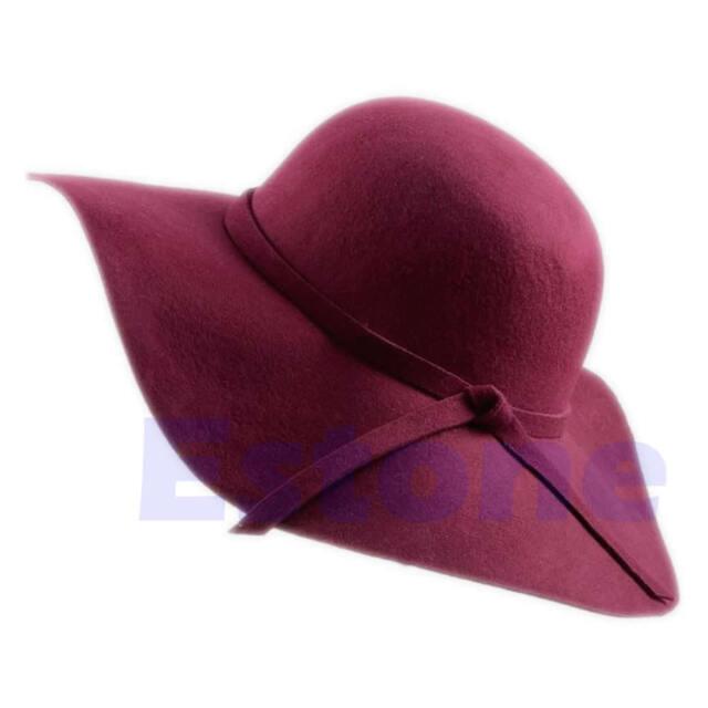 New Vintage Women Faux Wool Wide Brim Felt Bowler Fedora Hat Lady Floppy Cloche