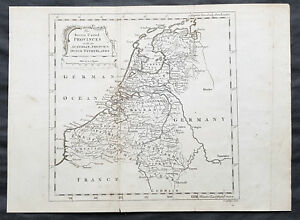1758 Thomas Salmon Antique Map of The Dutch Republic or VII United on