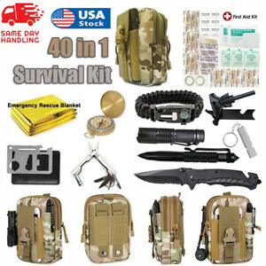 40 in 1 Emergency Survival Kit Outdoor Camping Military Tactical Gear Backpack