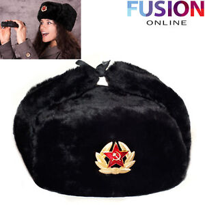 48e502dd522 Black Russian Trapper Hat With Soviet Badge Faux Fur Ushanka Cossack ...