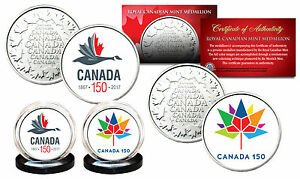 CANADA-150-ANNIVERSARY-RCM-Royal-Canadian-Mint-Colorized-Medallions-2-Coin-Set