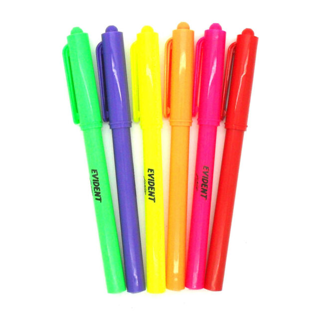 Evident Junior Fluorescent Neon Ink Highlighters Pens Ideal Office School, 12PK