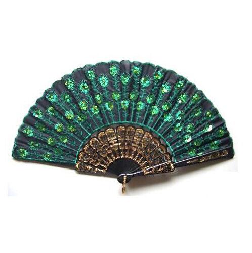 Folding Hand Held Fan Peacock Feather Pattern Dancing Party Wedding Decor US