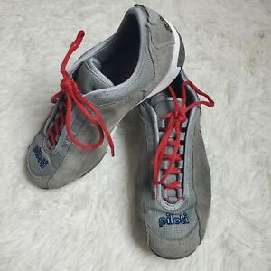 Men-039-s-Piloti-Spyder-S1-Driving-Shoes-Suede-Gray-Red-White-EUC