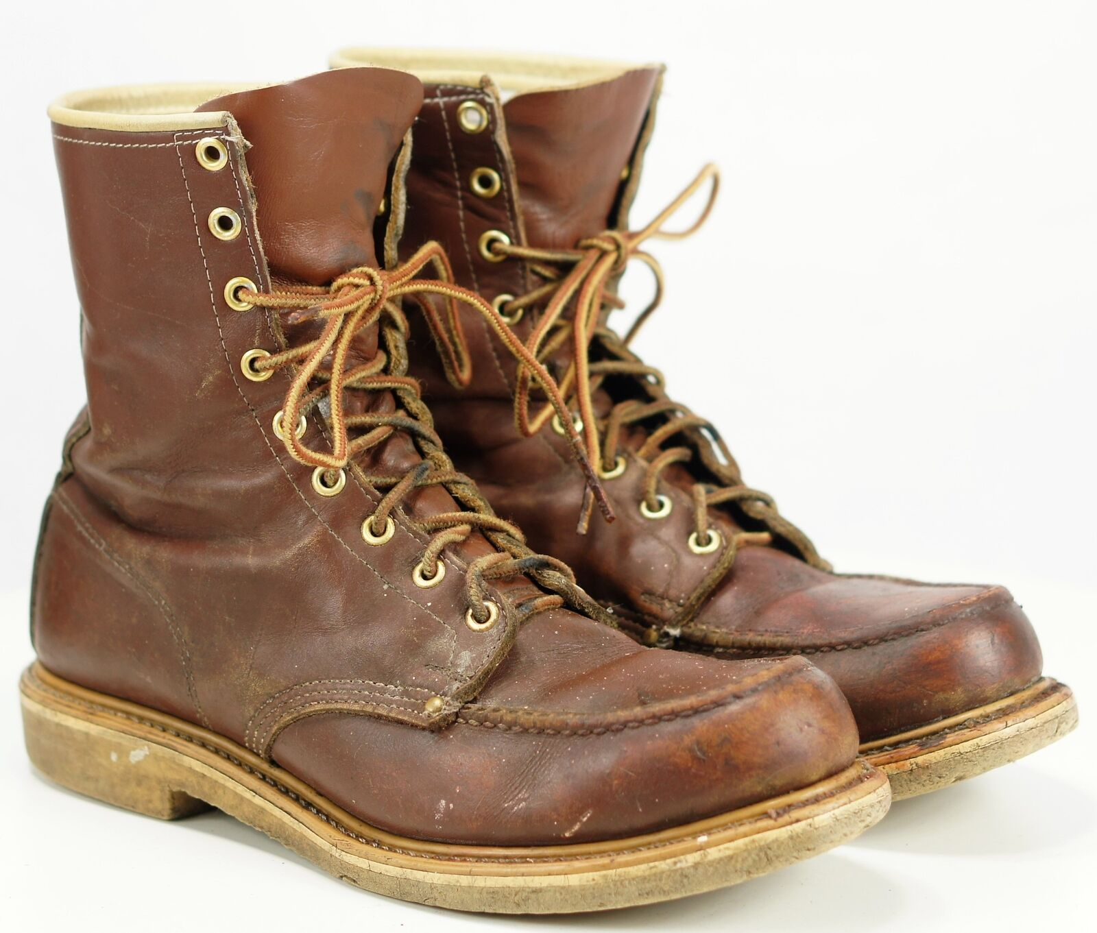 Vintage HyTest Men's Steel Moc Toe Lace Work Sport Boots US Union Made 8.5 C