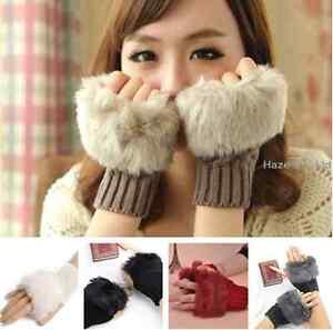 Girl-Fingerless-Fur-Winter-Warm-Wrist-Knitted-Wool-Mitten-Gloves