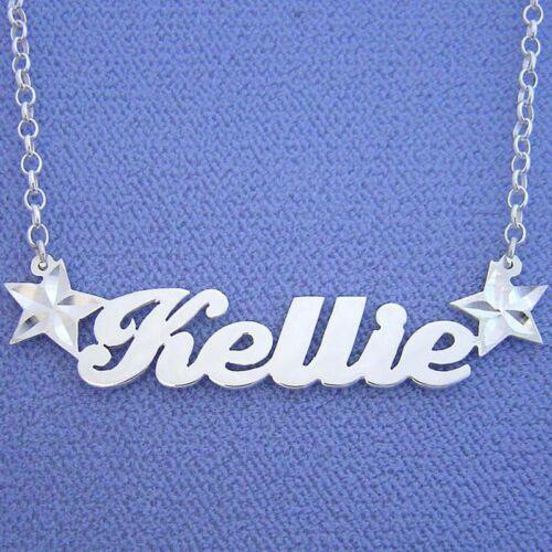 Silver Personalized Name Necklace with Stars SN61