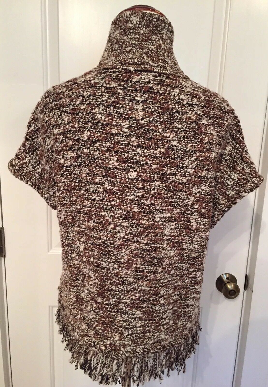 ST. JOHN WOMENS SWEATER CARDIGAN SMALL BROWN BROWN BROWN WHITE MARLED KNIT FRINGE CAP SLEEVE a721d9