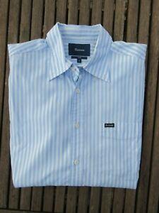Chemise Façonnable Club bleu ciel & blanc à rayures manches longues taille L