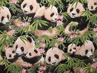 Panda Bear Baby Pandas Flowers Jungle Cotton Fabric Bthy