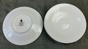 WEDGWOOD-Bone-China-SILVER-ERMINE-R4452-2-Replacement-Saucers-England-EUC