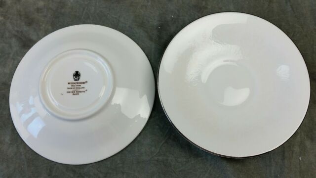 WEDGWOOD Bone China SILVER ERMINE R4452 2 Replacement Saucers England EUC