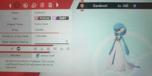 Brillante Gardevoir 6IV Max Evs competitivo Pokemon Espada Escudo tímidos Trace Bufanda