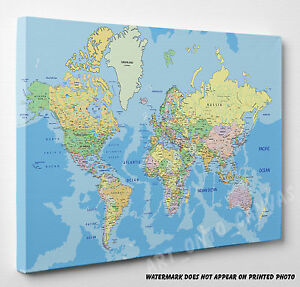 X LARGE World Map Canvas Picture Print Wall Art A4 A3 A2 A1 Ready To on