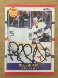 Rob-Blake-Los-Angeles-Kings-1990-91-Score-Signed-Autographed-Rookie-Card