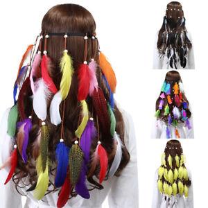 Indian Hippie Women/'s Feather Headband Hairband Weave Tribal Headdress Tassel