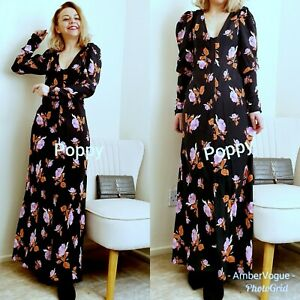 Zara-New-Black-Long-Flowing-Floral-Print-Dress-Size-Xs-UK-6