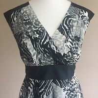 F&F Black White Grey Mixed Animal Print Dress Size 12 Party Christening Occasion