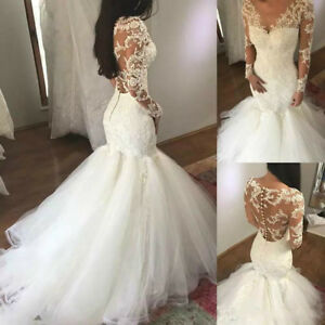 Details about Lace Plus Size Sheer Mermaid Long Sleeve V-Neck Wedding Dress  Bridal Gown Bride