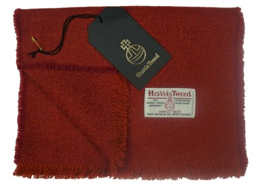 Harris Tweed Pure Wool Luxury Men Womens Fringed Scarf 150cm  Orange Herringbone