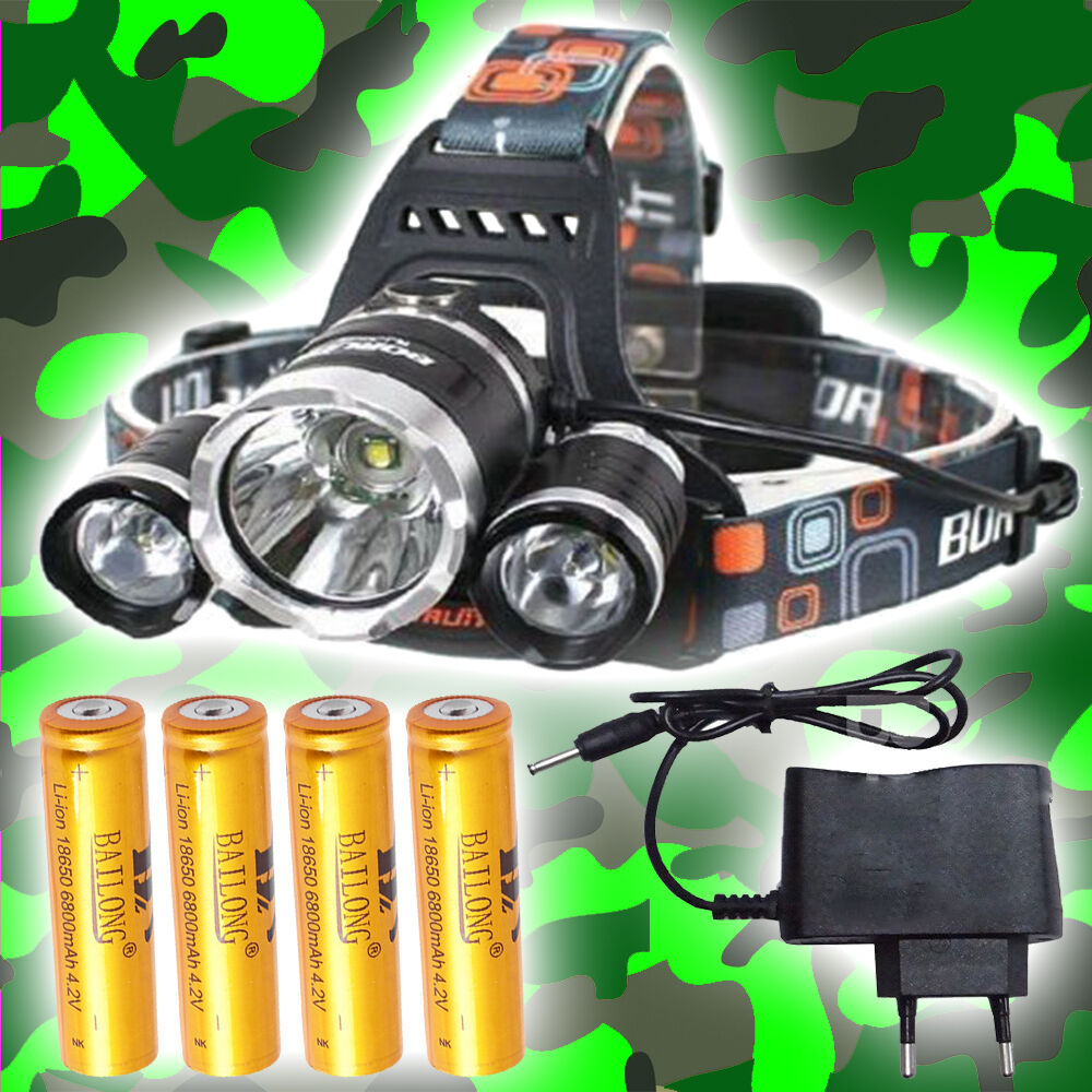 SWAT POLICE 1000M LAMPE FRONTALE 7000 LUMENS LED FLASHLIGHT AVEC 4x18650