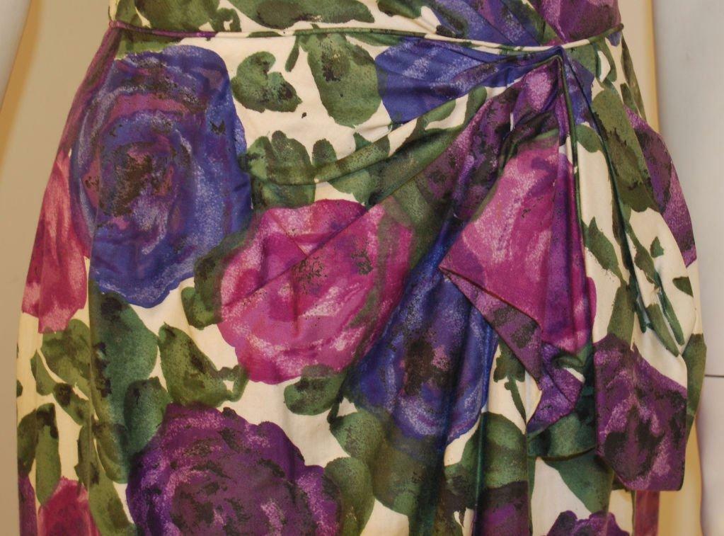 CEIL CHAPMAN 1950s Violet Cotton Floral Print Wig… - image 9