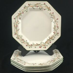 Set-of-4-VTG-Dinner-Plates-by-Johnson-Brothers-Eternal-Beau-Pink-Floral-England